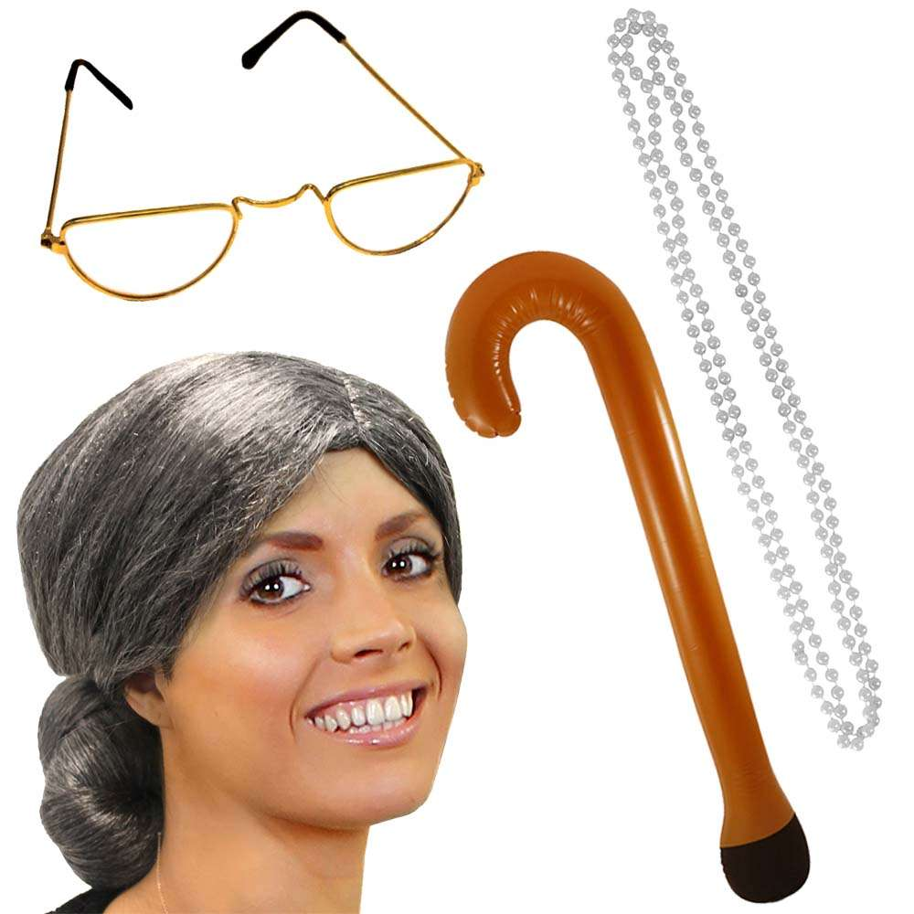 GRANNY OLD LADY OLD MAN WOMAN GRANDMA GLASSES PIPE CURLY GREY WIG PEARLS WALKING STICK FANCY DRESS SET FAST SHIPPING
