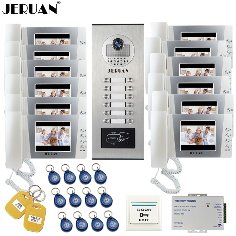JERUAN 4.3 inch LCD Video Door Phone Intercom Doorbell Intercom System kit RFID Access Camera for 12 Household Apartment jeruan home 7 video door phone intercom system kit rfid waterproof touch key password keypad camera remote control in stock
