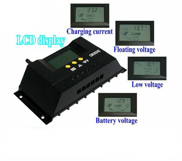 48V 30A Intelligent 48V Solar Charge Controller LCD Solar Panel Regulator for Solar power system with Output DC loads