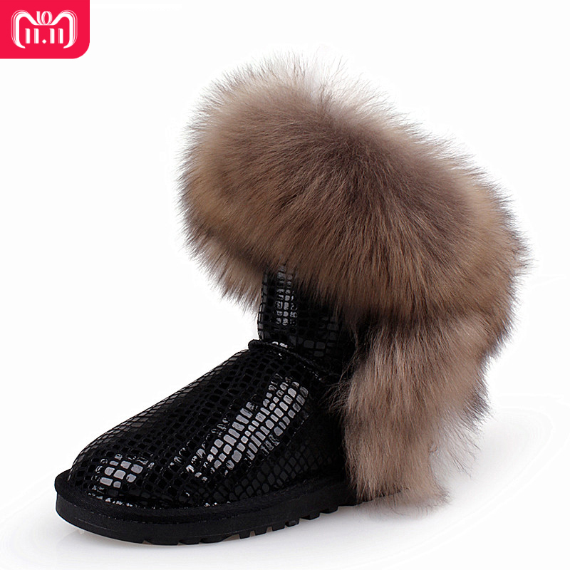 RUIYEE ladies snow boots fashion leather boots leather waterproof warm boots sequins snow boots 2018 new super fox fur boots ruiyee ladies snow boots sheepskin wool integrated boots furry tie bow waterproof boots fashion warm non slip wear