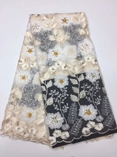 latest lace  French Net Lace Fabric with Wedding Embroidery Africa fabric 5y