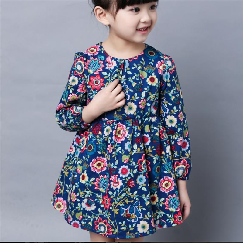 2 3 4 5 6 7 8 Years Kids Dresses for Girls 2017 New Summer Autumn Long Sleeve Girls Clothes Flower Children Pirncess Dresses children s spring and autumn girls bow plaid child children s cotton long sleeved dress baby girl clothes 2 3 4 5 6 7 years
