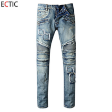 ECTIC MEN Worn patch jeans fashion man Locomotive casual pants COOL Street classic trousers