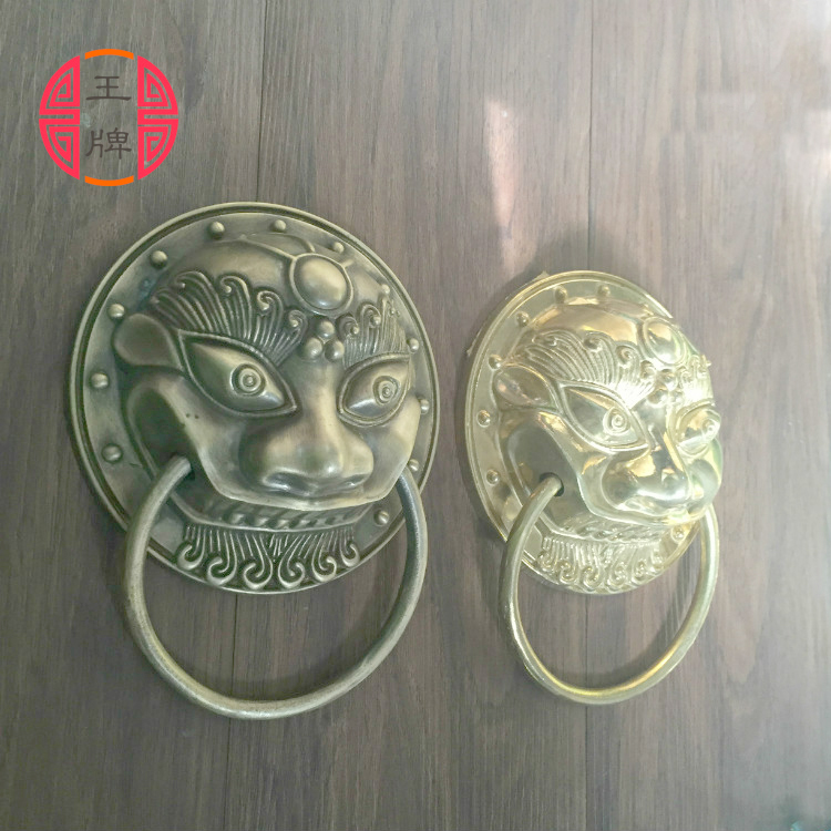 Chinese antique copper fittings knocker copper handle big lion tiger beast head copper shop first hand ring gate a pair chinese cloisonne copper statue lion foo dog nr