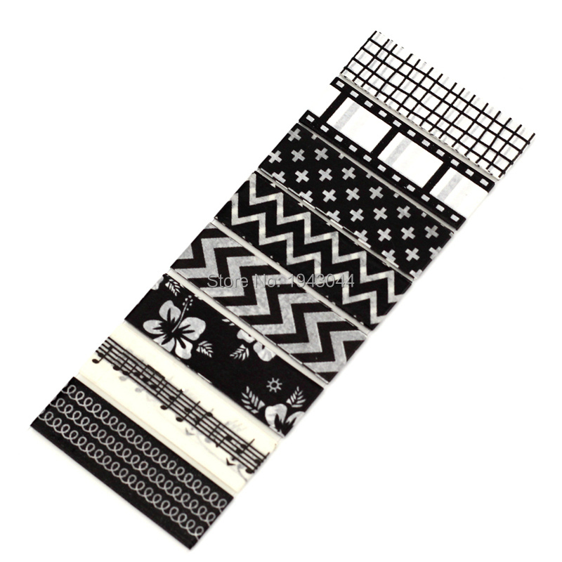 8 Designs Per Sheet Decorative Adhesive Paper Washi Tapes Black And White Grid Film Cross Chevrons Set For Planner Photo Album
