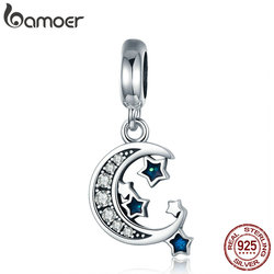 BAMOER Authentic 925 Sterling Silver Sparkling Sky Moon & Star Clear CZ Dangle Charm fit Charm Bracelet Fine Jewelry Gift SCC639
