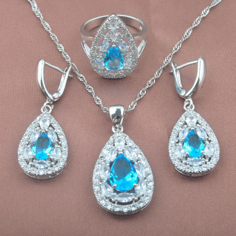 Sky Blue Zirconia Womens 925 Sterling Silver Noble Design Jewelry Sets Necklace Pendant Earrings Ring Free Shipping TZ0337