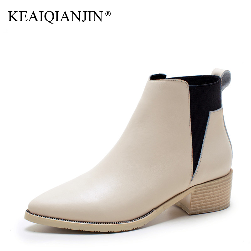 KEAIQIANJIN Woman Genuine Leather Martens Boots Black Beige Plus Size 33 - 43 Autumn Winter Shoes Genuine Leather Ankle Boots keaiqianjin woman genuine leather martens boots black beige plus size 33 43 autumn winter shoes genuine leather ankle boots