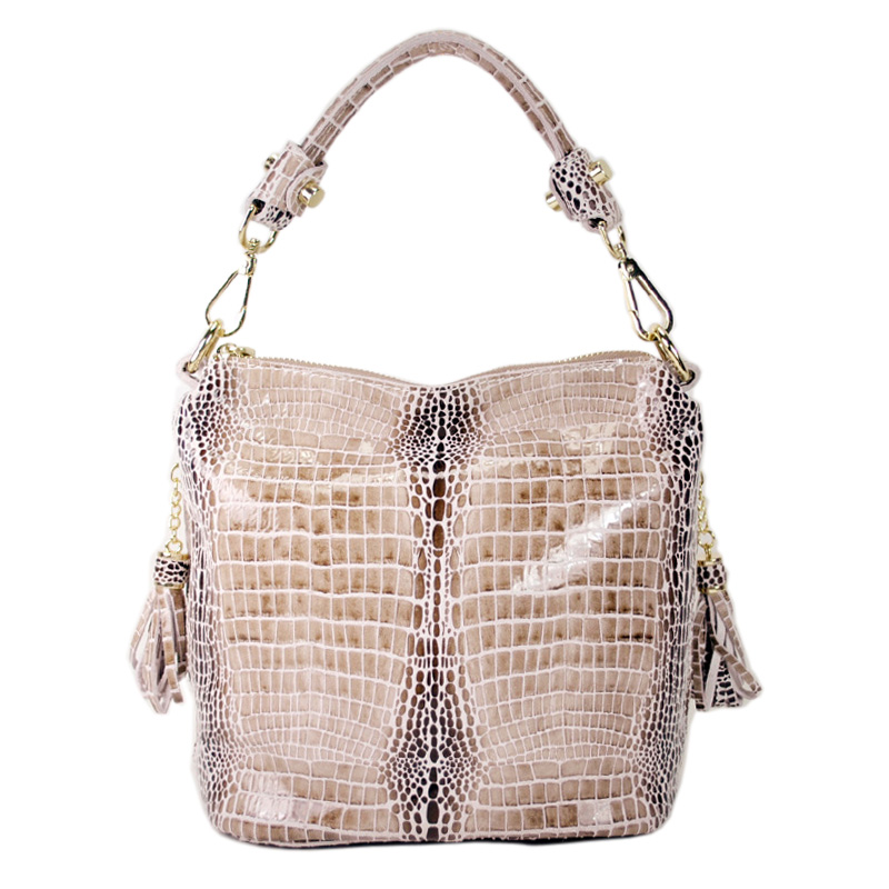 Women Crocodile Pattern Genuine Leather Handbag Fashion Luxury Alligator Shoulder Cross Body Bag Beige Colorful wtih Tassel Tote 2016 fashion spring and summer crocodile pattern japanned leather patent leather handbag one shoulder cross body bag for women