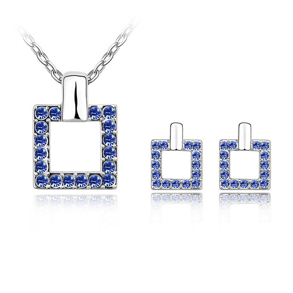 2017 Hot sale summer style square pendant necklace earrings jewelry set with Czech crystal mother's day Gift