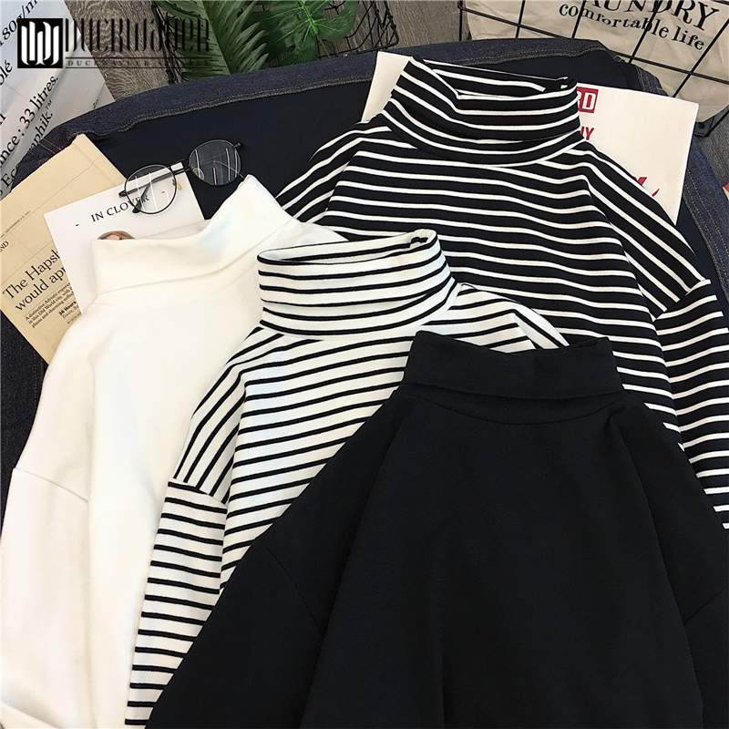 Autumn Fashion Women Causal Solid Loose stripe Long Sleeve kitted Turtleneck   T  -  Shirts   Lady Girls Basic Tee   T     Shirts   Tops