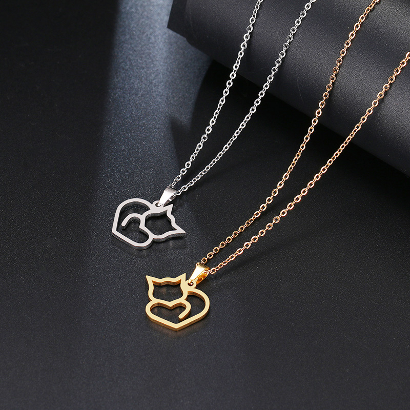 DOTIFI Stainless Steel Necklace For Women Lover's Gold And Silver Color Cat Exquisite Pendant Necklace Engagement Jewelry 4