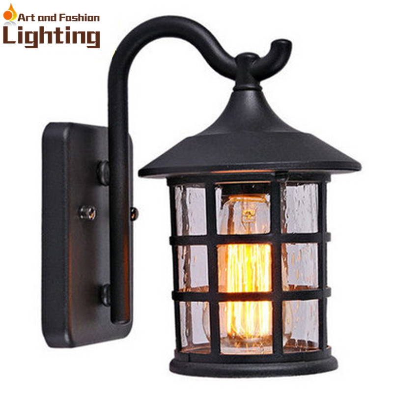 Antique Rustic Iron Waterproof Outdoor Wall Lamp Vintage Kerosene Lantern Light Rusty Matte ...