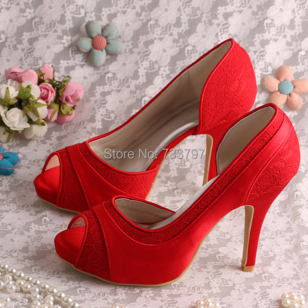 (20 Colors)Custom Handmade Size 7 Women Red Shoes High Heel Pee Toe Wedding Pumps