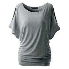 Summer Women Casual Short Sleeve Tee Crewneck Cut Out Off Shoulder Top T-shirt
