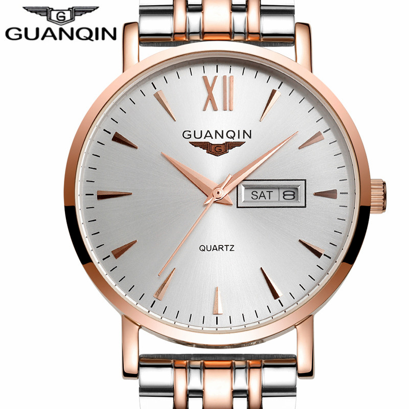 ФОТО Men's Watches Top Brand Luxury GUANQIN Business Men Fashion Quartz Watch Gold Stainless Steel Strap Wristwatch relogio masculino
