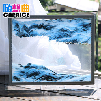 The flow of sand painting 3D desktop office decor decoration glass craft gift Home Furnishing timer