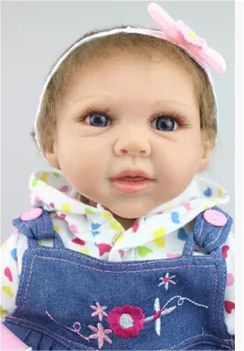 Silicone Reborn Baby Dolls with Clothes Blue Eyes,Lifelike Baby Doll Toys for Children Christmas Gift Free Shipping free shipping hot sale real silicon baby dolls 55cm 22inch npk brand lifelike lovely reborn dolls babies toys for children gift