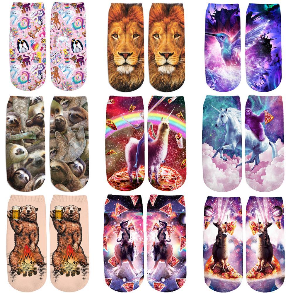 PLstar Cosmos 2019 New 3D Printed Animal sloth/lion/brown bear cute cotton short ankle socks for Men Women harajuku korean socks 1