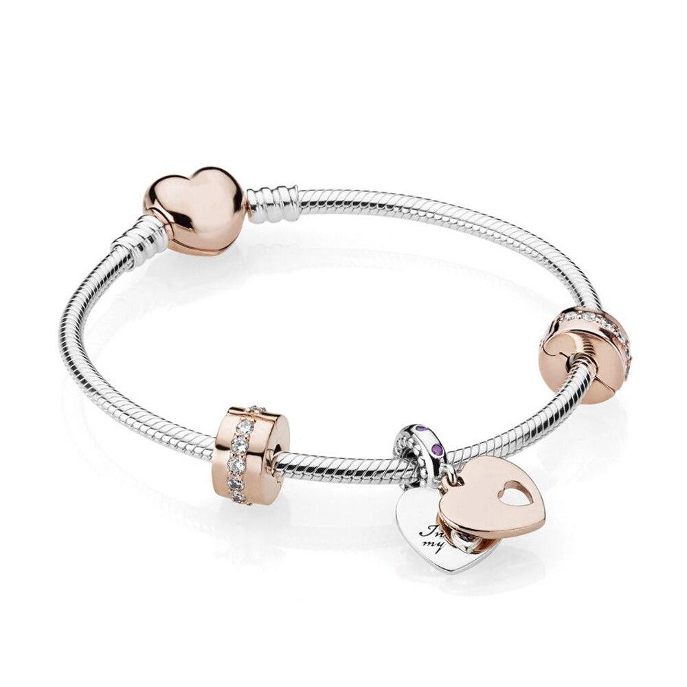 Nouveau Bracelet en argent sterling 925 de haute qualité en or Rose, cristal CZ clair, adapté au cadeau d'anniversaire de maman