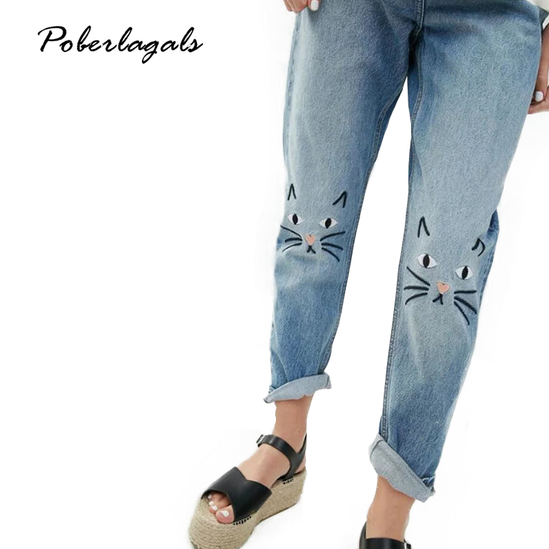 Embroidery cartoon cute jeans female casual Loose Jeans pants capris 2017 autumn winter straight jeans suit pants women bottom summer new flower embroidery jeans female light blue casual pants capris 2017 autumn winter pockets straight jeans women bottom