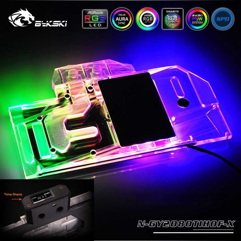 Bykski N-GY2080TIHOF-X VGA Full Cover Water Cooling Block with RGB LED Kits for Galax GeForce <font><b>RTX</b></font> <font><b>2080</b></font> <font><b>TI</b></font> HOF <font><b>11GB</b></font> GDDR6 image