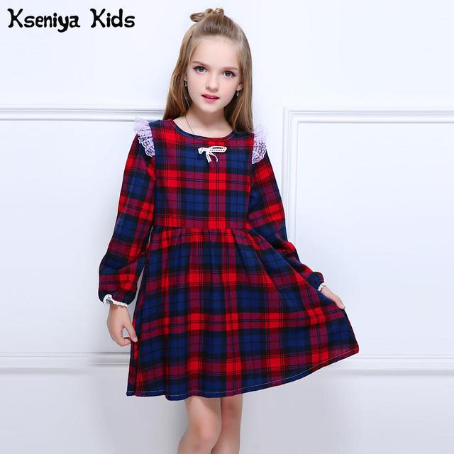 Kseniya Kids Autumn Winter Baby Girl Warm Soft Plaid Cute A-line Retro Dress For Girls Toddler Clothes Princess Dresses Costumes