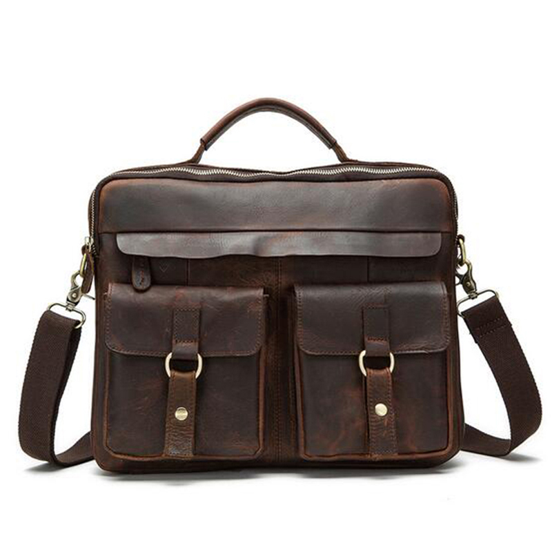 TOP POWER Men Bag Vintage Genuine leather Men Briefcase Handbag Messenger Laptop Bag Men Casual Briefcase Business Shoulder qibolu handbag men bag briefcase business travel laptop messenger crossbody shoulder bag sacoche homme bolsa masculina mba17