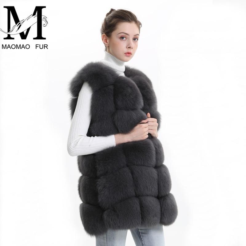Real Fox Fur Vest Women Coat Female Natural Fox Fur Pelt Waistcoat Ladies Sleeveless Gilet Warm