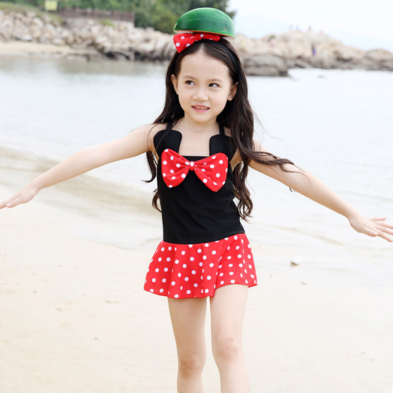 One-piece Swimwear Children Girl Cute Bowknot Polka Dot Kids Skirt Swimsuit Dress Swim Beachwear Bathing Suit Bodysuit Black Red one piece swimsuit children s swimwear girl children baby swim wear kids cute swimsuits 2017 new buoyancy life biquini infantil