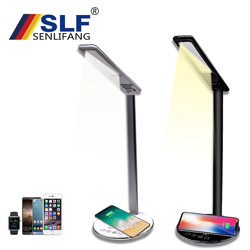 SENLIFANG Desk Lamp + Wireless Dual Charger For Apple Samsung Wireless Charger IphoneX Multifunction Wireless Charger