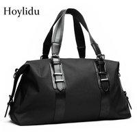 Waterproof Men's Business Travel Bag Large Capacity Duffle Foldable Luggage Bags for Men Belt Deco Weekend Bag Oxford Black
