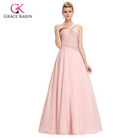 Grace Karin Pink Evening Dresses Long Ruched Chiffon Party Dress Straps Formal Evening Gowns Women Robe de Soiree Longue GK0074