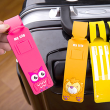 NEW Silica Gel Plane Travel Luggage Tag Label Straps Suitcase Name ID Address Tags Reusable Cartoon Luggage Tags