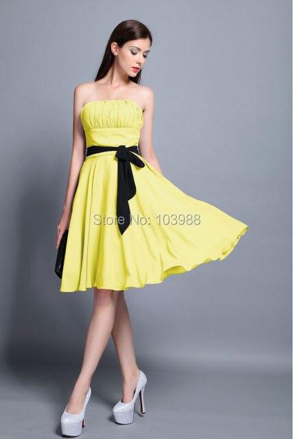 1614b14089 24 horas ENVÍO gratuito precio barato claro stock vestido de noche Corto  partido prom vestido amarillo