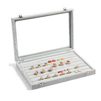 TONVIC Clear Lid Jewelry Tray Show case Display Storage Jewelry receive case Rings Organizer box 7 Rows 35cm*24cm*4.5cm