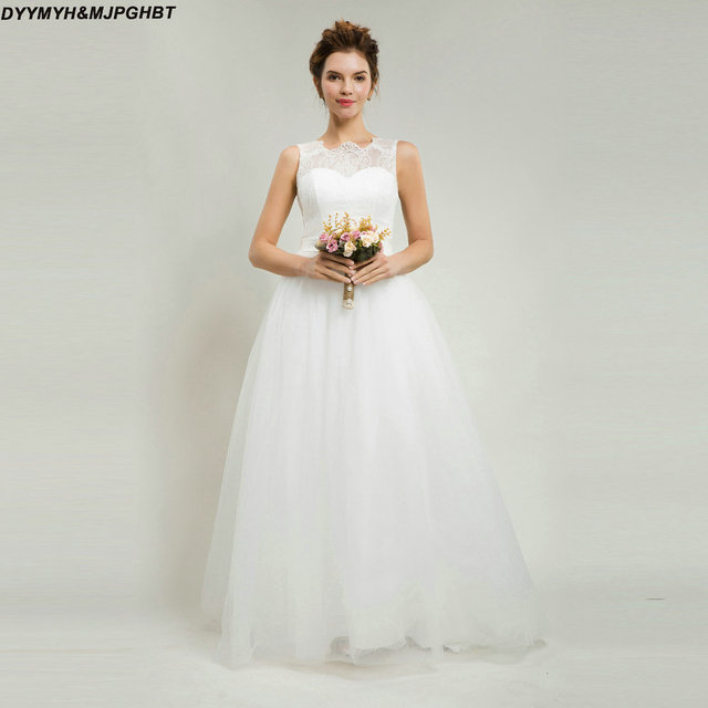 Casamento Lace/Tulle Wedding Dress 2018 Tank Scoop Neck Simple and ...