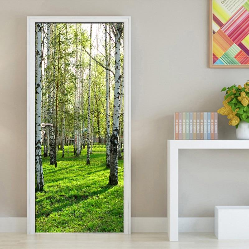 Pastoral Style 3D Green Forest Door Mural Living Room Bedroom Door Wallpaper Home PVC Waterproof Self-adhesive Door Sticker Wall