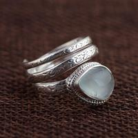Natural Aquamarine Ring 925 Sterling Silver Snake Rings For Women Adjustable Vintage Thai Silver Gemstone Jewelry Accesorios