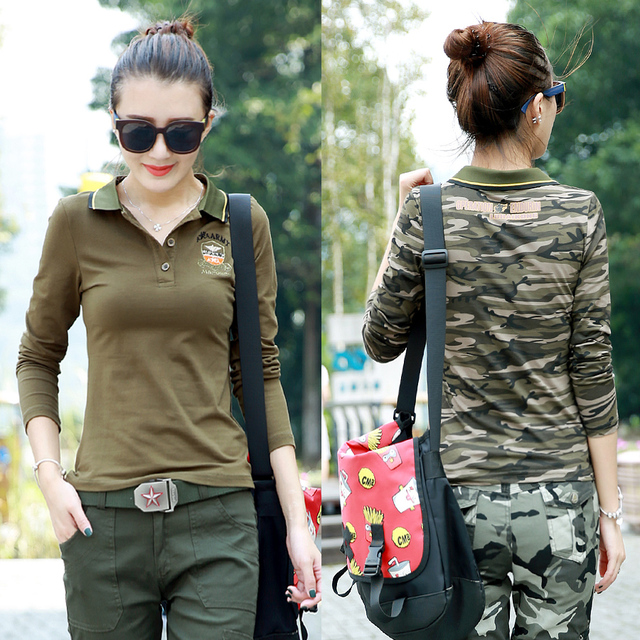 Fall and winter clothes new camouflage long-sleeved casual fitting body  POLO shirt uniforms tooling