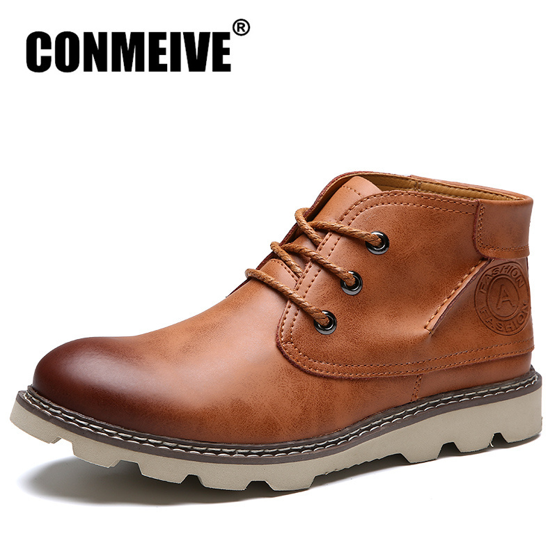 Fashion Winter Men Boots Leather Casual Man Shoes Comfortable Keep Warm Ankle Military Boots Lace-Up Non-slip Work Safety Shoes Men Shoes
