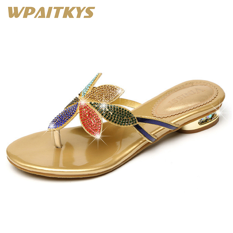 Fashion Elegant Golden Black Two Colors Available Rhinestone Women s Low Heel Sandals Crystal Leather Casual