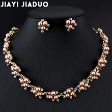 Jiayijiaduo Evening Dress Wedding Imitation Pearl Jewelry Sets Necklace Earrings for Charm Women Clothing Accessories Gold Color(China)