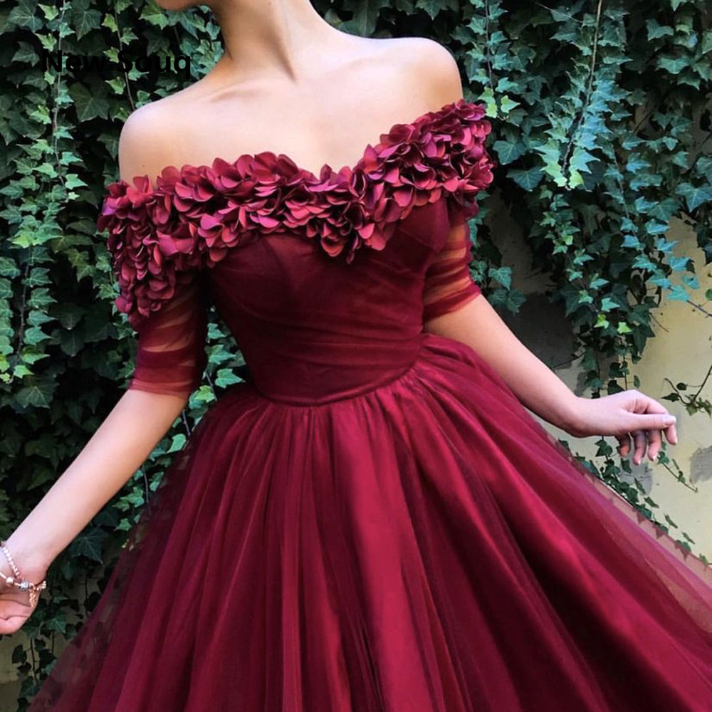 Burgundy Tulle 3D Applique Evening Dresses Sexy Off The Shoulder Side Split Sweep Train Long Prom Dress Formal Evening Gowns