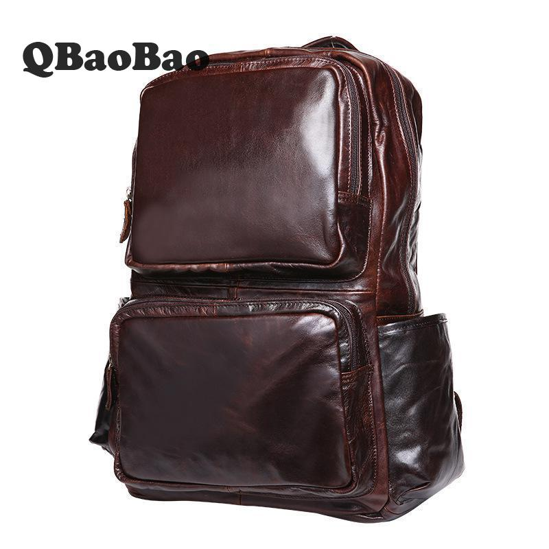 Фото Backpack Men Genuine Leather Travel Back Pack First Layer Cowhide Casual Man Bag High Quality Male Bag Shoulder Schoold Bag
