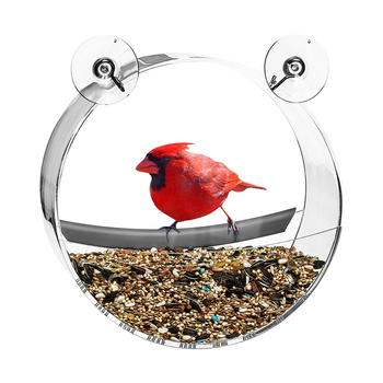 Bird Feeder Acrylic Transparent Food Box Round Hanging Sparrow Parrot Seed Peanut Feeding Bird House Window Suction Cup Tool