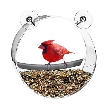 Bird Feeder Acrylic Transparent Food Box Round Hanging Sparrow Parrot Seed Peanut Feeding Bird House Window Suction Cup Tool