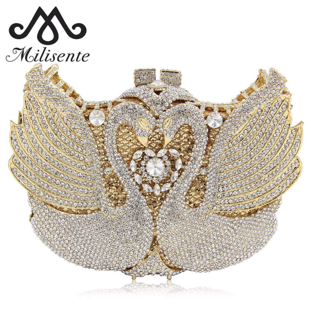 Milisente Women Swan Evening Bag Luxury Crystal Wedding Clutch Bags Party Clutches Purses milisente women luxury rhinestone clutch evening handbag ladies crystal wedding purses dinner party bag gold
