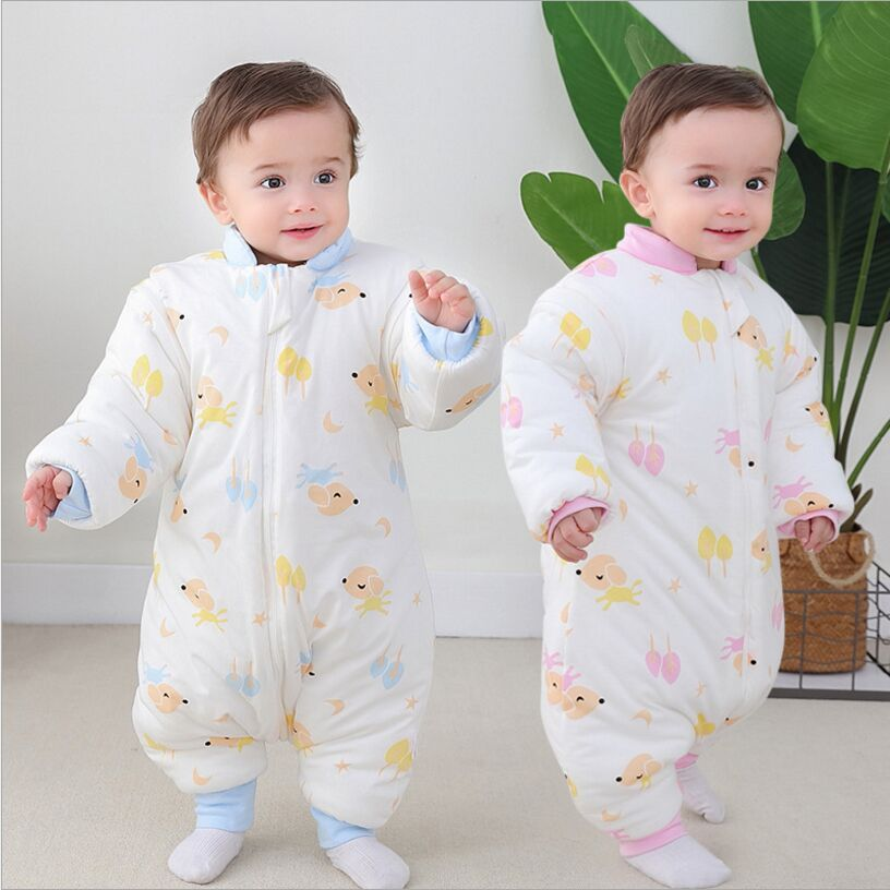 Winter 2019 Baby Sleeping Bag Thickening Cotton Detachable Sleeves Anti-Kicking Cotton Sleeping Bag Baby Kids Sleeping Bag infant baby sleeping bag baby blankets quilt thick natural cotton sleeping bag detachable sleeves newborn swaddling clothes
