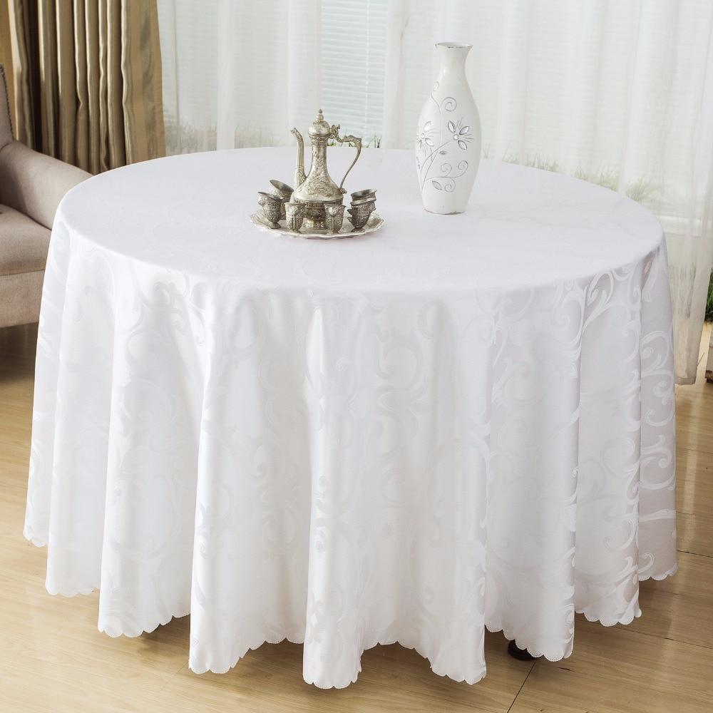 Mesa redonda de tela de poli ster manteles manteles para for Manteles para mesas redondas